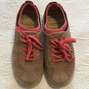 Dansko Mocha and Pink Elise Suede Sneakers 39